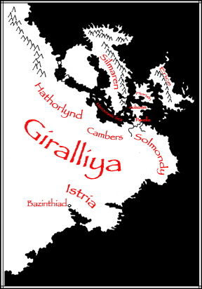 map of eastern portion of a continent, black sea, red labels, white land