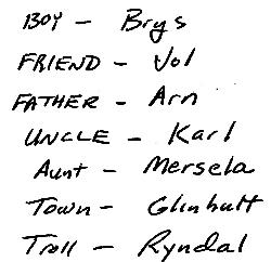 copy of actual manuscript notes for The Troll's Belt
