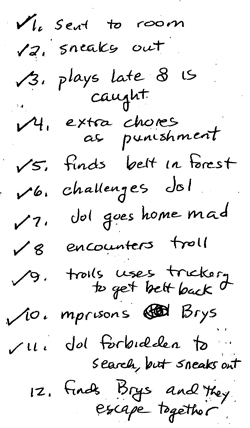 Copy of handwritten list of scenes for story