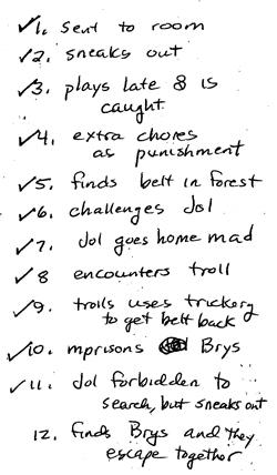 Copy of handwritten list of scenes for story