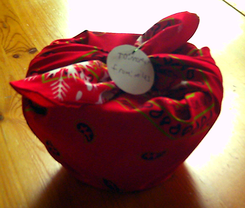 photo of gift wrapped in bandanna