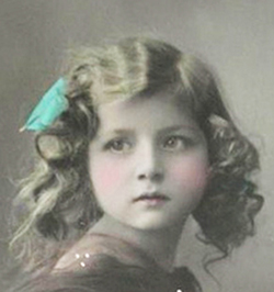 vintage postcard of little girl