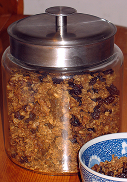 glass cannister of granola