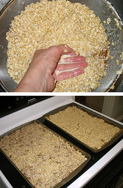 draining and spreading the granola