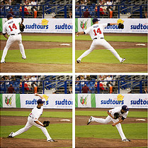 4 photos showing a baseball pitcher pitching