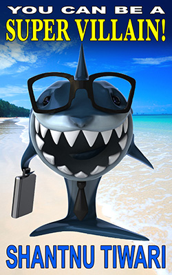 Toothy grinning shark with exec case and tropical island
