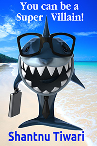 Grinning shark with exec case and tropical paradise