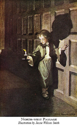 watercolor painting of child walking in a candlelit hallway