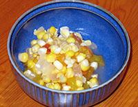 serving of corn relish
