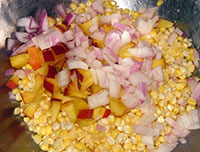 corn relish in the making
