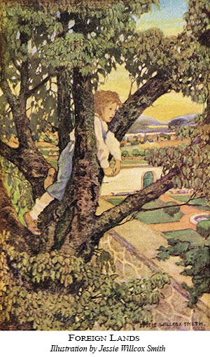 watercolor illustration of child climbing a tree