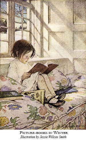 watercolor painting of child reading in a window seat