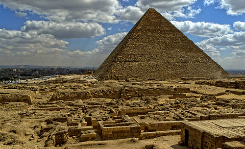 Pyramid of Khufu seen from the western mastaba field at Giza
