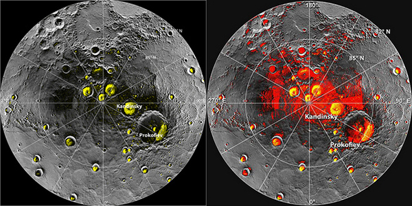 Ice at Mercury's poles