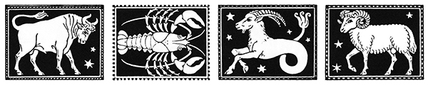bull, crab, sea goat, ram depicted as art nouveau line drawings