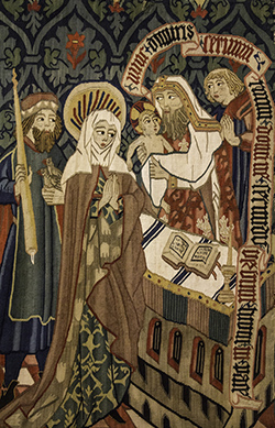 Nunc Dimittis, detail from medieval tapestry in the Burrell Collection in Glasgow