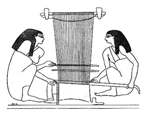 Women at a loom. From a tomb at Beni-Hassan.