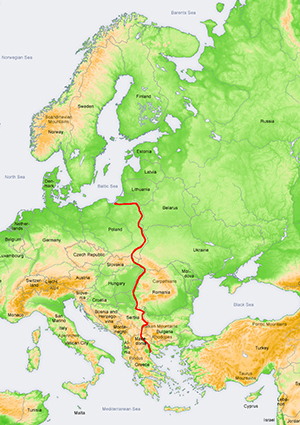 Map of Europe and the Amber Road