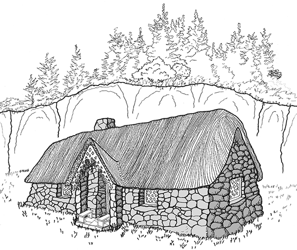 Sketch of the cottage of the norns