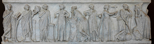 Roman sarcophagus depicting the nine muses