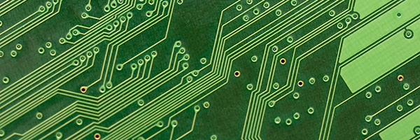 angled metal tracks on an electronic circuit board