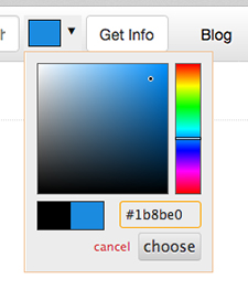 Dark blue on the color picker