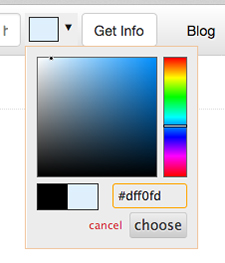 Light blue on the color picker